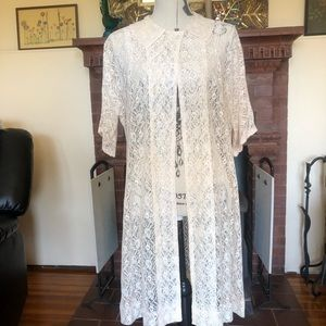 1960s Vintage Lace Jacket Robe Beach Cover Up O/S